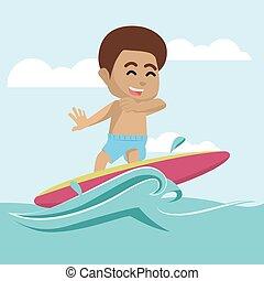 chłopiec, surfing, morze, afrykanin
