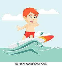chłopiec, surfing, morze