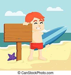 chłopiec, surfing, znak