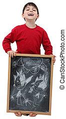 chłopiec, szkoła, ścieżka, strzyżenie, chalkboard