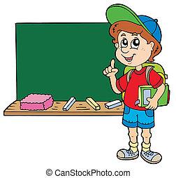 chłopiec, szkoła, doradzając, tablica