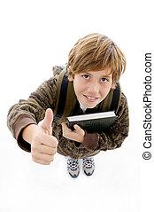 chłopiec, szkoła, kąt, do góry wysoki, kciuki, uśmiechanie...