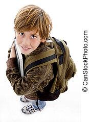 chłopiec, szkoła, kąt, wysoki, aparat fotograficzny,...