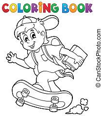 chłopiec, szkoła, kolorowanie, 1, temat, książka