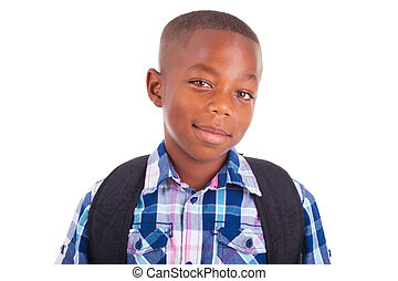 chłopiec, szkoła, ludzie, -, amerykanka, czarnoskóry, afrykanin