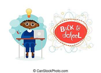 chłopiec, szkoła, posiedzenie, afrykanin, wstecz,...