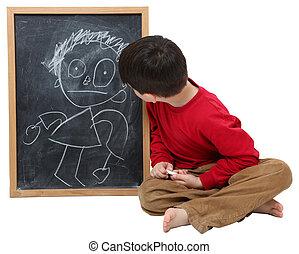 chłopiec, szkoła, strzyżenie, chalkboard, ścieżka, rysunek