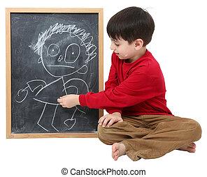 chłopiec, szkoła, strzyżenie, znak, czysty, ścieżka