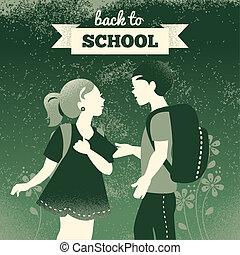 chłopiec, szkoła, tło., studenci, rocznik wina, wstecz, ilustracja, girl.