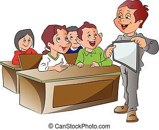 chłopiec, tabliczka, ilustracja, pc, nauczanie, używając