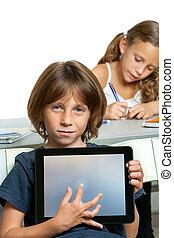 chłopiec, tabliczka, spoinowanie, screen., młody, student, czysty