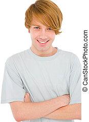 chłopiec, teenage, fałdowy herb