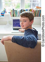chłopiec, teenage, kodeks, pisanie, komputer, sypialnia