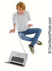 chłopiec, teenage, laptop