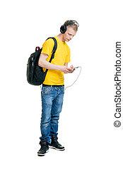 chłopiec, teenage, odizolowany, muzykować słuchanie, biały