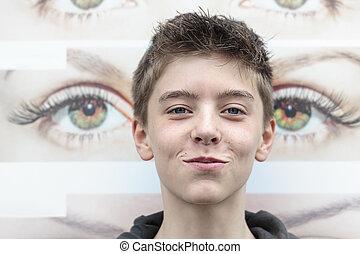 chłopiec, teenage, oko, próbka, tło, portret