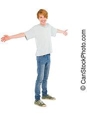 chłopiec, teenage, otwarty herb