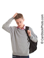 chłopiec, teenage, plecak, smutny