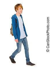chłopiec, teenage, plecak