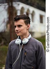 chłopiec, teenage, słuchawki