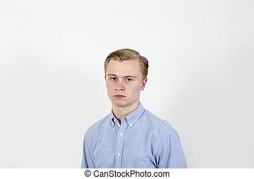 chłopiec, teenage, smutny