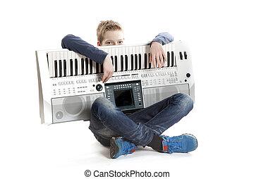chłopiec, teenage, studio, klawiatura