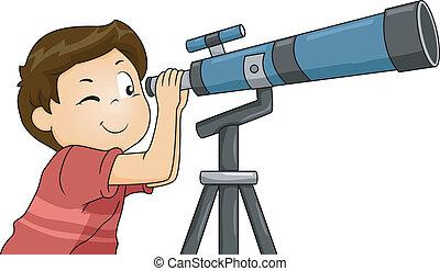 chłopiec, teleskop, używając