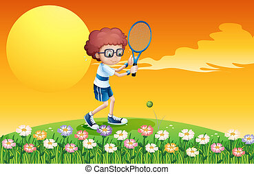chłopiec, tenis, interpretacja, pagórek