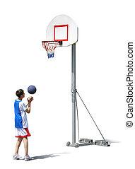 chłopiec, trening, koszykówka