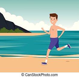 chłopiec, trening, styl życia, atletyka, działalność