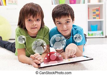 chłopiec, tworzenie sieci, młody, accesing, aplication, ...