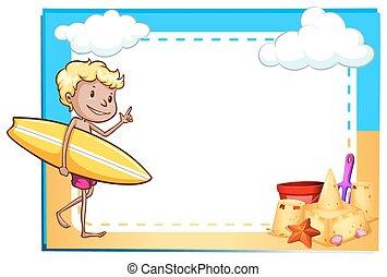 chłopiec, ułożyć, plaża, pokaz
