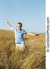 chłopiec, uśmiechanie się, outdoors, wyścigi, młody