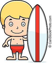 chłopiec, uśmiechanie się, rysunek, surfer