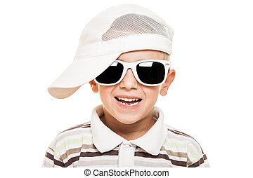 chłopiec, uśmiechanie się, sunglasses, dziecko