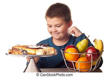 chłopiec, udział, zdrowy, na, wysoki, owoc, chcąc, kaloria