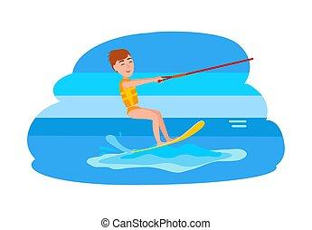 chłopiec, wektor, kitesurfing, ilustracja, szczęśliwy