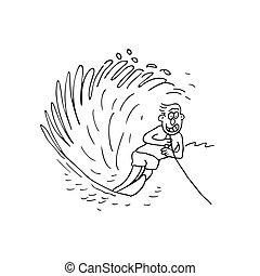 chłopiec, wektor, rysunek, ilustracja, surfing