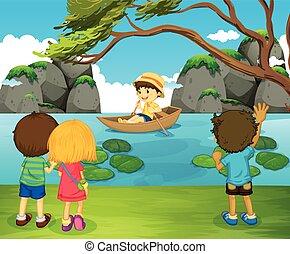 chłopiec, wioślarstwo, przyjaciele, łódka, oglądając