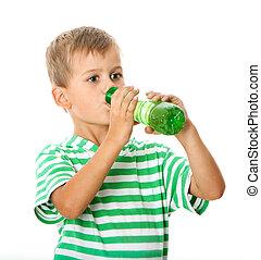 chłopiec, woda, picie