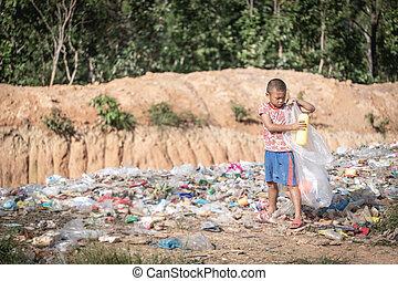 chłopiec, worek, odpadki, dzieci, utrzymanie, jego,...