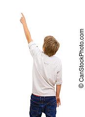 chłopiec, wstecz, okładzina, pointing.