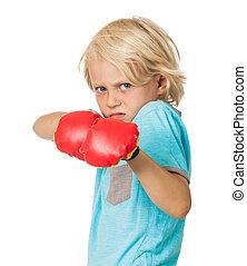 chłopiec, wylękniony, boks rękawiczki, gniewny