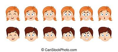 chłopiec, wyrażenia, dziewczyna, twarz
