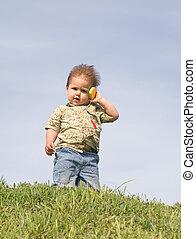 chłopiec, z, niejaki, cellphone