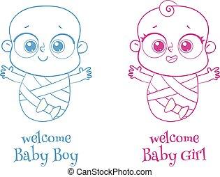 chłopiec, zapraszać, pożądany, powitanie, to, girl., logotype, albo, karta, baby.
