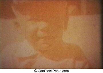 chłopiec, zewnątrz, (1964), zmarszczenie, traktor