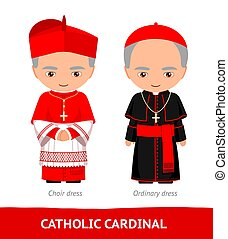 chœur, cardinal., dresses., catholique, ordinaire
