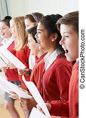 chœur, chant, école, groupe, enfants