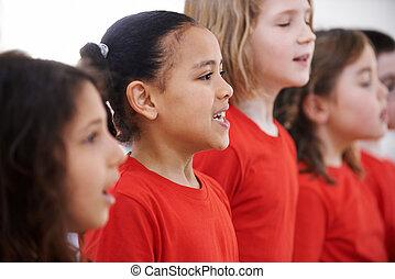 chœur, chant, groupe, enfants, ensemble